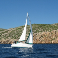 Sailing in the Cabrera Island archipelago